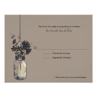 Flores de Wid de la tarjeta de RSVP y tarro de alb Comunicado Personalizado