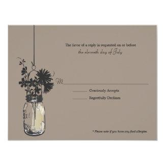 """Flores de Wid de la tarjeta de RSVP y tarro de Invitación 4.25"""" X 5.5"""""""