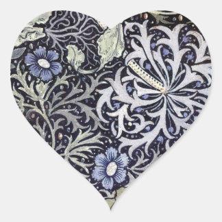 Flores de William Morris Pegatina Corazón Personalizadas