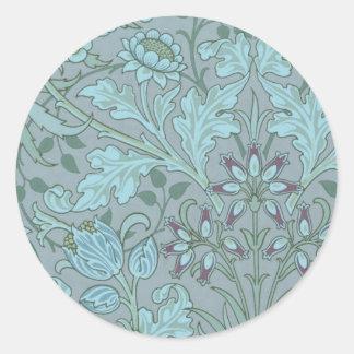 Flores decorativas azules en colores pastel pegatina