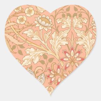 Flores decorativas del rosa en colores pastel pegatina en forma de corazón