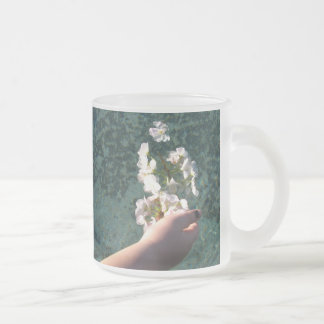 Flores del agua taza cristal mate