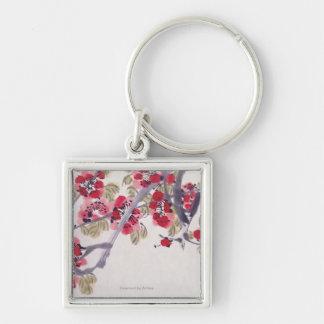 Flores del albaricoque llavero cuadrado plateado