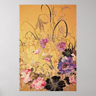 Flores del amarillo de la caricia de Sun Póster