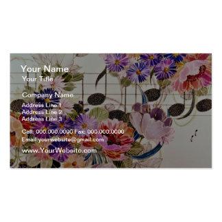 Flores del amarillo del campo de la música tarjetas de visita