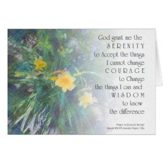 Flores del amarillo del rezo de la serenidad tarjeta de felicitación