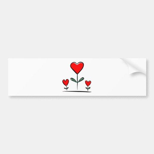 Flores del amor etiqueta de parachoque