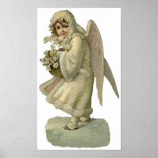 Flores del ángel del navidad del vintage, póster