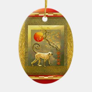 Flores del Año Nuevo del mono de la luna roja Adorno Navideño Ovalado De Cerámica
