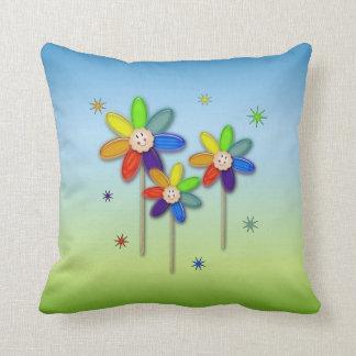 flores del arco iris cojines