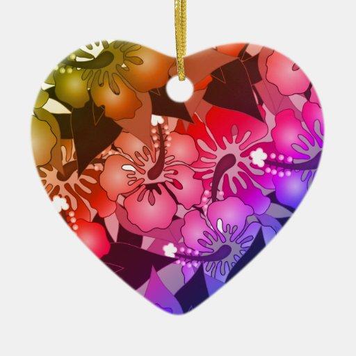 Flores del arco iris adorno de cerámica en forma de corazón