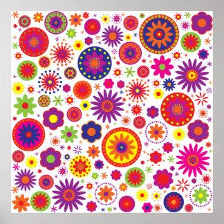 Flores del arco iris del hippy impresiones