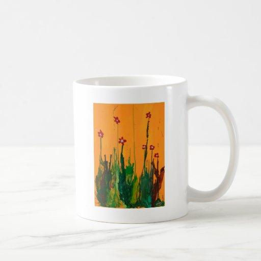 flores del arte del creyón tazas de café