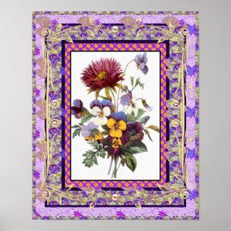 Flores del arte del vintage del poster