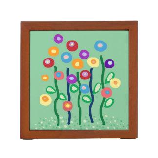 Flores del arte moderno en colores brillantes de l organizador de escritorio