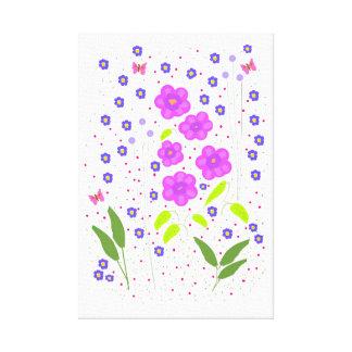 Flores del arte moderno, estilo ingenuo impresión en lienzo estirada