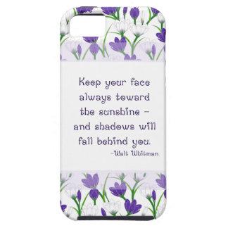 Flores del azafrán de la primavera de la cita de W iPhone 5 Case-Mate Carcasa