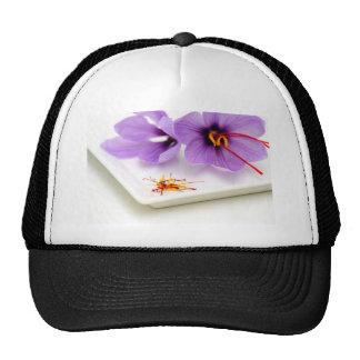 Flores del azafrán gorros bordados