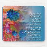 Flores del azul de la serenidad alfombrilla de ratones
