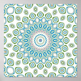 Flores del azul de océano, grises y blancas del póster