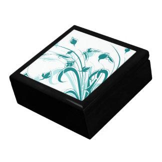 Flores del azul de pavo real en blanco cajas de regalo
