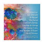 Flores del azul del rezo de la serenidad impresion en lona