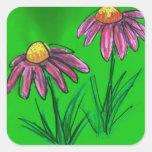 Flores del bálsamo de abeja calcomania cuadradas