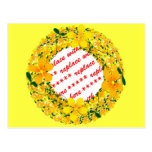 Flores del bastidor anaranjado y amarillo en postal