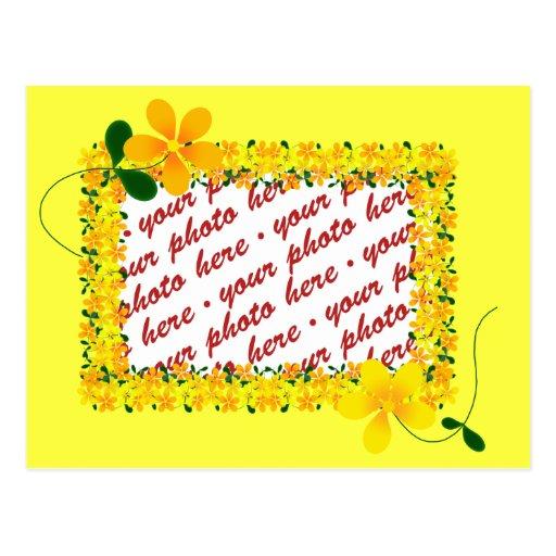 Flores del bastidor anaranjado y amarillo postal