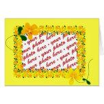 Flores del bastidor anaranjado y amarillo tarjeta de felicitación