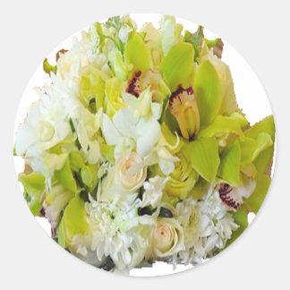Flores del boda pegatina redonda