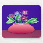 Flores del bosque en un mousepad rojo del pote tapetes de ratones