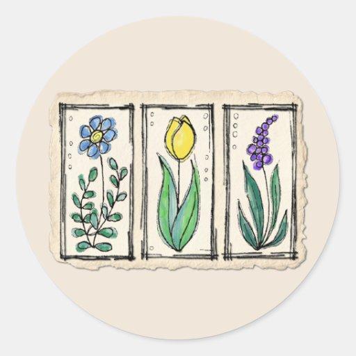 Flores del bosquejo de la pluma y de la tinta de etiqueta redonda