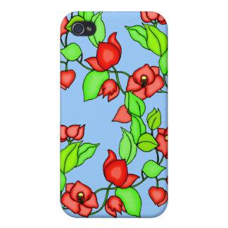 Flores del Bougainvillea y caso del monograma ipho iPhone 4 Carcasa