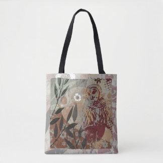 Flores del búho y collage gráfico de la tapicería bolsa de tela