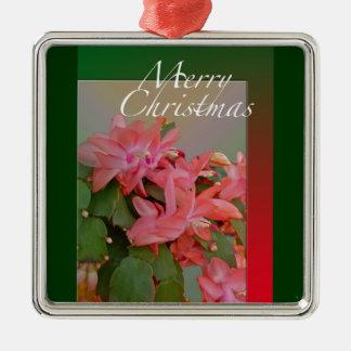 Flores del cactus de navidad de las Felices Adorno Navideño Cuadrado De Metal