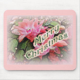 Flores del cactus de navidad de las Felices Navida Alfombrillas De Raton