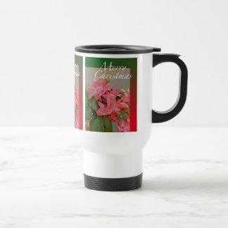 Flores del cactus de navidad de las Felices Navida Taza De Viaje De Acero Inoxidable