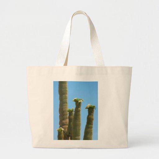 Flores del cactus del Saguaro Bolsas Lienzo