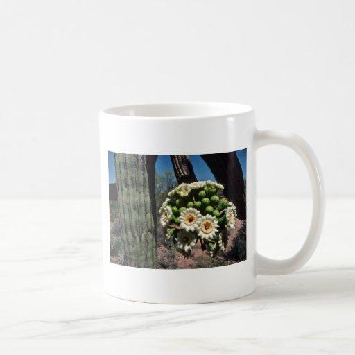 Flores del cactus del Saguaro Taza Básica Blanca