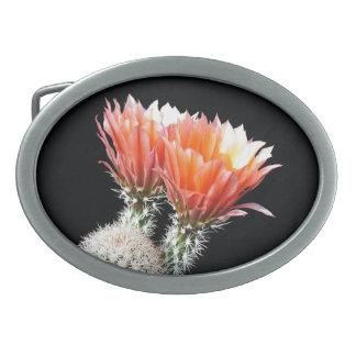 Flores del cactus hebillas de cinturon ovales