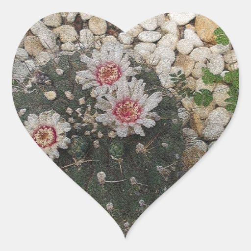 Flores del cactus pegatina corazón personalizadas