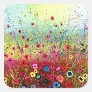 Flores del campo pegatina cuadrada