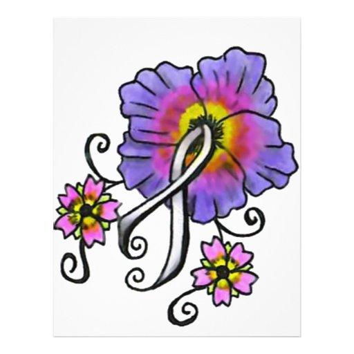 Flores del cáncer de pulmón membrete personalizado