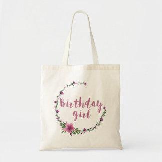 Flores del chica del cumpleaños bolsa tela barata