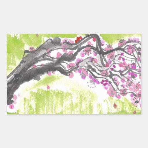 Flores del ciruelo en pegatinas verdes pegatina rectangular