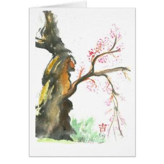 Flores del ciruelo, Sumi-e en color Felicitación