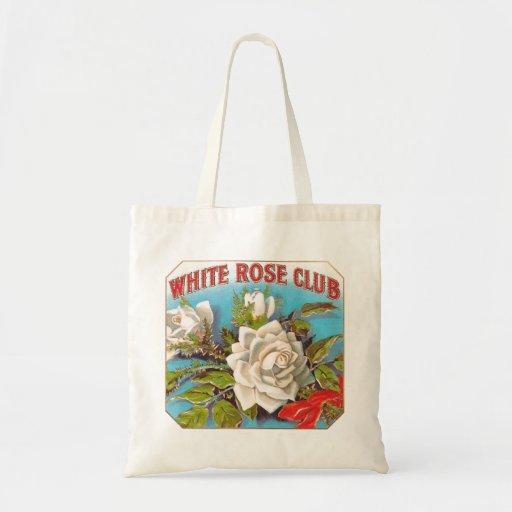 Flores del club del rosa blanco del vintage bolsas lienzo
