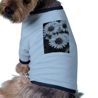 Flores del cono - margarita - en blanco y negro camiseta con mangas para perro