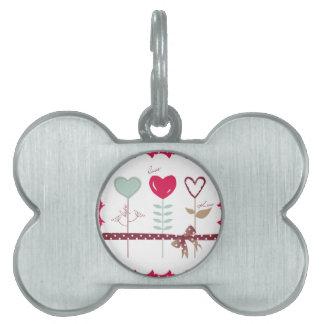 Flores del corazón - besos de la esperanza del amo placas de mascota